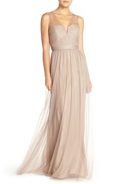 Main Image - Amsale 'Alyce' Illusion V-Neck Pleat Tulle Gown Mismatched Bridesmaid Dresses, Wedding Bridesmaid Dresses, Wedding Attire, Monique Lhuillier Bridesmaids, Blush Gown, V Neck Wedding Dress, Dress The Population, Tulle Gown, Strapless Gown
