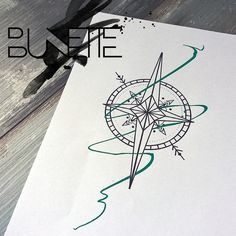 Linework compass geometric tattoo bunette