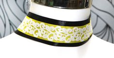 Black Yellow white layered choker necklace Filigree flower Gothic Victorian style  choker 40mm  modern chic by HeavenlyCow on Etsy