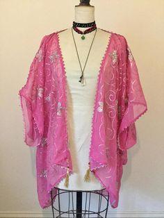 Pink kimono 1920's embroidered flapper festival shrug.