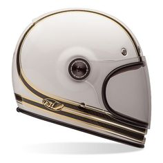 Shop for Bell Bullitt Helmet - Carbon RSD Mojo White / Gold. Fantastic retro style full face ECE helmet from Bell. Free next day UK delivery and returns. Carbon Fiber Motorcycle Helmet, Full Face Motorcycle Helmets, Full Face Helmets, Half Helmets, Motorcycle Riding Gear, Cafe Racer Motorcycle, Motorcycle Outfit, Motorbike Clothing, Cafe Racer Helmet