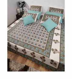 Heritage Fabs Anokhi Blue N White Double Bed Cover Set With 2 Pillow Covers