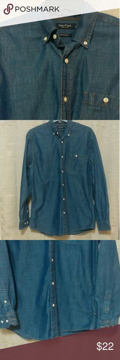 Men's denim chambray Nautica Gorgeous button down. Excellent condition. No rips, stains, holes, or loose seams. Little to no visible signs of wear. 23.5 inches from armpit to armpit. Nautica Shirts Casual Button Down Shirts