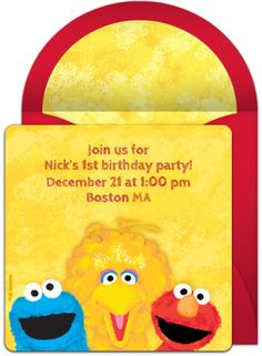 Tons of free Sesame Street invitations in this collection. We love these colorful online invitations for a Sesame Street birthday. Great digital alternative to DIY paper options! Sesame Street Birthday Invitations, 1st Birthday Invitations, Baby Shower Invitations, First Birthday Themes, 1st Birthday Parties, 2nd Birthday, Birthday Ideas, Baby Elmo, Sesame Street Party