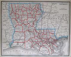 1893 Antique LOUISIANA Map Vintage State Map of LOUISIANA #2922