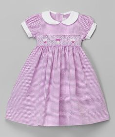 Love this Purple Peter Pan Collar Gingham Dress - Infant, Toddler & Girls by Fantaisie Kids on #zulily! #zulilyfinds