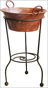 Rustic Copper Wine Bucket from Orion Trading Copper Bar, Copper Pots, Interior Design And Space Planning, Cheap Wine Glasses, Wine Stand, Wine Tasting Room, Wine Bucket, Table Top Design, Kitchens And Bedrooms