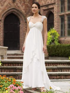 Sleeveless Chiffon Sweetheart A-Line Wedding Dress with Lace Shoulder Straps