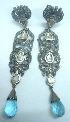 1.70ct Victorian Rose Cut Diamond Earring Topaz 925 Silver Vintage Style Estate Mughal Style Anniversary Wedding Party Wear Dangle Earring