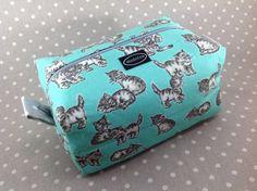 Mint green and gray kitten boxy zipper bag cute zipper pouch gift idea for cat…