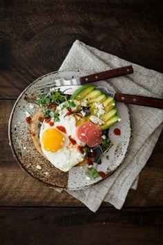 Breakfast Tostada from The Minimalist Kitchen // breakfast // tostada // mornings // eggs // toast // avocado