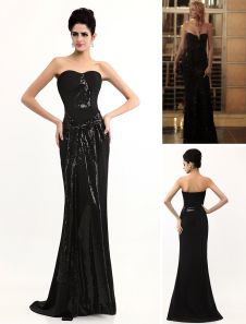 Grace Sheath Sash Black Strapless Sequined Gossip Girl Evening Dress. Get unbelievable discounts up to 65% Off at Milanoo using Coupon & Promo Codes.