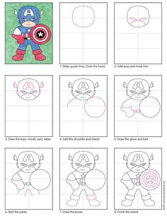 How to draw Captain America. PDF tutorial available. #howtodraw #captainamerica #artprojectsforkids
