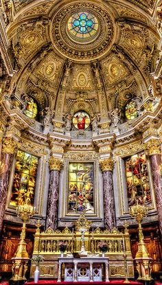 Berlin Cathedral ~ Appreciate the beautiful structure of the Berlin Dom. It has a long stairway towards the top and provides an elevator for people with disabilities.