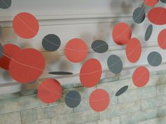 Paper Garland 10ft Coral and Gray Wedding by anyoccasionbanners, $11.00