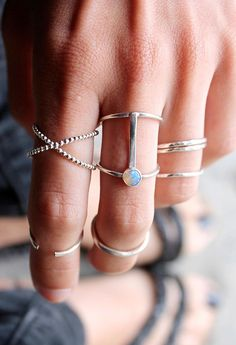 layered, silver, natural stones (opal). love every bit of this finger party