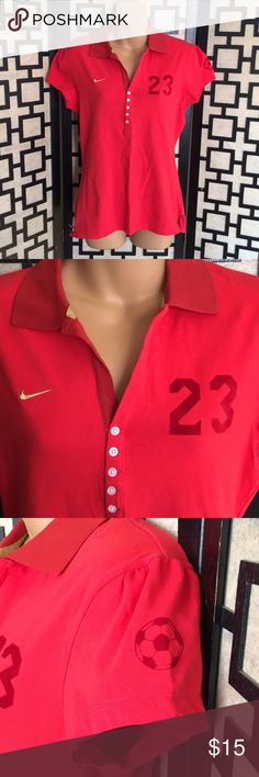 Nike Soccer Turkish FA red polo shirt Great used condition. No holes or stains. Button up style trimmed in gold fabric. Nike Tops