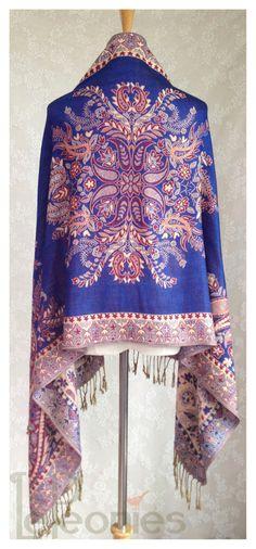 Paisley Shawl Pashmina shawl Fringe shawl by LePeoniesBoutique