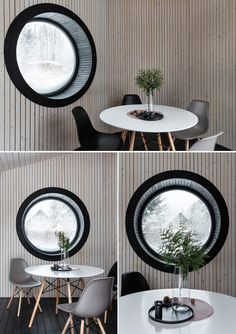 A round deep window with a black frame. Backyard Buildings, Small Buildings, Bbq House, Tiny House, Small Bbq, Office Pods, Bbq Table, Curved Wood, Function Room