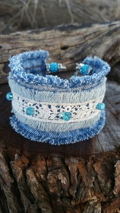 Double Frayed Denim Cuff Bracelet with Glass Beads and Pave Clay Beads with Czech Rhinestones Fabric Bracelets, Fabric Jewelry, Cuff Bracelets, Diy Denim Bracelets, Double Denim, Bohemian Bracelets, Handmade Bracelets, Denim And Lace, Blue Denim