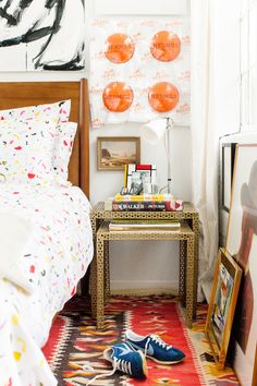 Bed from West Elm // Bedding from Biscuit // Side tables from Urban Outfitters // Hermes art Desire Obtain Cherish // Vintage Rug