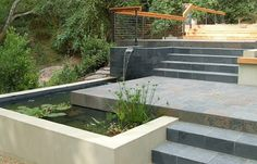 slate terrace with water feature