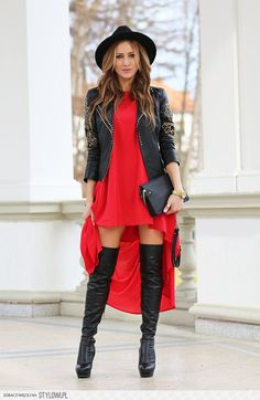 high-low dress/ over the knee boots / fedora / motorcycle jacket