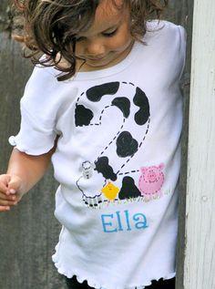 personalized birthday bodysuit or toddler shirt, EIEIO farm theme birthday, sheep, cow, pig, chick, farm birthday party, farm birthday shirt...