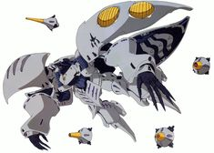 MAN-103 Qubeley first appeared on a poster included in the Z Gundam Ace No. 001 (i.e. the July 2005 issue of Gundam Ace) magazine. It was illustrated and designed by Mamoru Nagano.