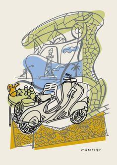 Javier Mariscal, Oda a Gaudí II (Mi vespa), 2002 Serigrafía en 5 colores Formato: 70 x 50 cm Papel: Fabriano acuarela  Edición de 125 ejemplares numerados y firmados