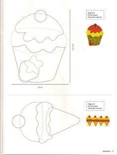 felt pattern cupcakes - Buscar con Google