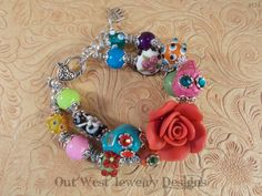 Chunky Day of the Dead Bracelet with Howlite Turquoise Sugar Skulls and Lampwork No. 174 - pinned by pin4etsy.com