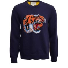 Gucci Wool Sweater With Tiger Intarsia ($990) ❤ liked on Polyvore featuring men's fashion, men's clothing, men's sweaters, blue, mens wool sweaters, mens blue sweater, gucci mens sweater, mens short sleeve sweater and mens woolen sweaters