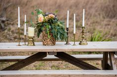 Ranch wedding picnic table. Photo by Uche Photography.