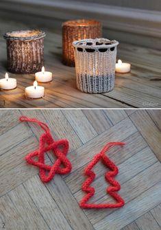 Déco de Noël et photophore en tricotin