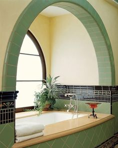 Green Art Deco style bath/ by Jarrett Hedborg and Donald Goldstein L. … Green Art Deco style bath/ by Jarrett Hedborg and Donald Goldstein L. Casa Art Deco, Art Deco Room, Art Deco Decor, Art Deco Bathroom, Bathroom Ideas, Small Bathroom, Spa Bathrooms, Bathroom Pics, Bathroom Yellow