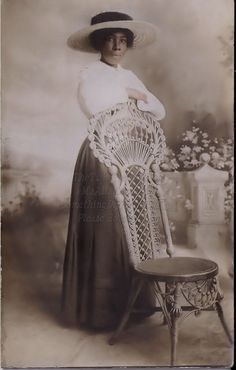 Vintage Photograph African American woman in shirtwaist, with lovely flat summer hat.
