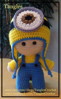 Minion Inspired  Big Head Baby Doll  Made To by TanglesCrochet