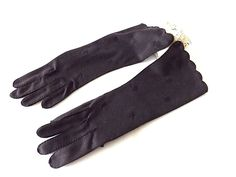 SHALIMAR Gloves in Black, Midlength Nylon, Made in Philippines, 7 1/2, Unworn by EyeSpyGoods on Etsy