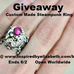 Our giveaway is in full swing.  Open worldwide Ends 6/2 To enter:www.inspiredbyelizabeth.com/blog Steampunk Rings, Class Ring, Giveaway, Heart Ring, Jewellery, Blog, Jewels, Schmuck, Heart Rings