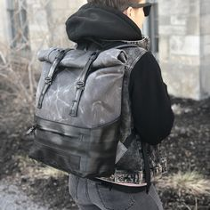 Excited to share the latest addition to our #Etsy shop: Roll Top backpack made from waxed canvas and recycled bike inner tubes