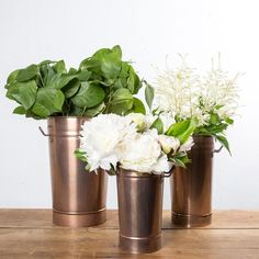 Our Copper Flower Bucket is the perfect container for fresh flowers or faux flower stems. This bucket comes in three sizes and will elegantly displayany floral