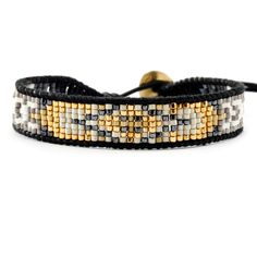 Chan Luu - Gold Mix Beaded Single Wrap Bracelet on Natural Black Leather, $115.00 (http://www.chanluu.com/bracelets/gold-mix--beaded-single-wrap-bracelet-on-natural-black-leather/)