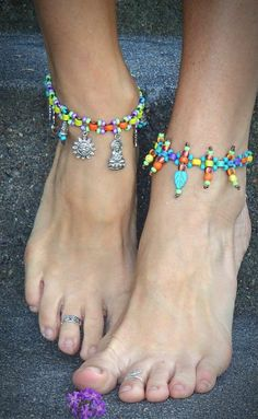DIY BEADED ANKLE BRACELET | Tribal+Charm+ANKLE+Bracelet+RAINBOW+beaded+Anklet+BOHO+by+GPyoga,+$39 ...
