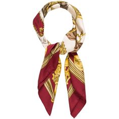 Pre-owned Herm?s Etriers Silk Scarf (1.075 RON) ❤ liked on Polyvore featuring accessories, scarves, red, hermès, silk shawl, colorful shawls, colorful scarves and red scarves