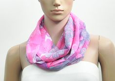 Pink Infinity Scarf Floral Infinity Scarf  by FashionPopups