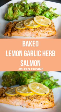 Easy and quick one-pan baked lemon garlic herb salmon with roasted broccoli! | Joleen Cuisine