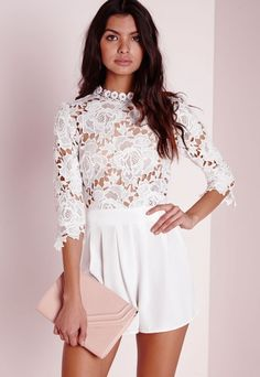 7d0e5960e21 High Neck Crochet Playsuit White - Playsuits - Missguided Long Sleeve  Playsuit