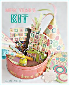 DIY New Year's Eve Party Kit {Host a Party}     Give each of your guests this fun collection of party items, a party hat, noise maker, popper, and a journal for 2012 that they can take home as a party favor.