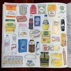 Consulta esta foto de Instagram de @joobjang_svh • 112 Me gusta Colouring Pages, Coloring Books, French Supermarkets, Play Shop, Food Painting, Food Drawing, Paris, Doodles, Japan